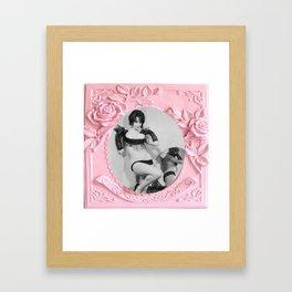 Femme Fatale - Pin Up - Pastel Pink Frame - Roses  Framed Art Print