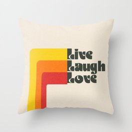 Live Laugh Love 70s Vibes Throw Pillow