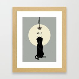 Spider and cat Framed Art Print