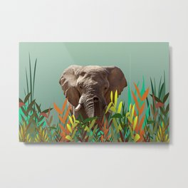 Elephant with colorful leaves Metal Print