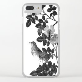 Birds and the Bees Black and White Clear iPhone Case
