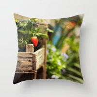 strawberry Throw Pillows featuring Strawberry by Nina's clicks