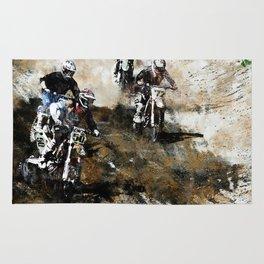 """Dare to Race"" Motocross Dirt-Bike Racers Rug"