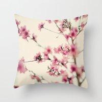 sakura Throw Pillows featuring Sakura by Laura Ruth