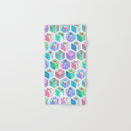 Christmas Gift Hexagons Hand & Bath Towel
