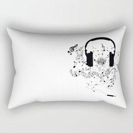 Headphones and Music Notes Rectangular Pillow