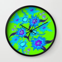 Neon Sky Blue Blooms Wall Clock