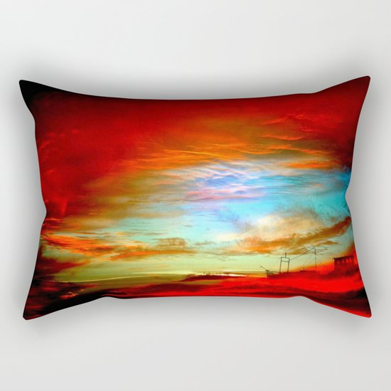 Seascape With Boat By Annie Zeno  Rectangular Pillow