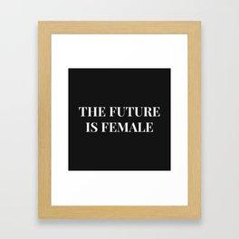 The future is female black-white Framed Art Print