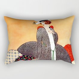 "George Wolfe Plank Art Deco Design ""Fabric Orchard"" Rectangular Pillow"
