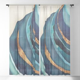 Abstract Blue with Gold Sheer Curtain
