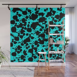 Bright Turquoise and Black Funny Leopard Style Paint Splash Pattern Wall Mural