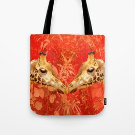 Face to face - beautiful giraffes - love is in the air Tote Bag