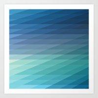 Fig. 042 Blue Geometric Diagonal Stripes Art Print
