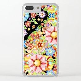 Boho Chic Flower Garden Clear iPhone Case