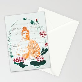 Buddha with Lotuses Stationery Cards