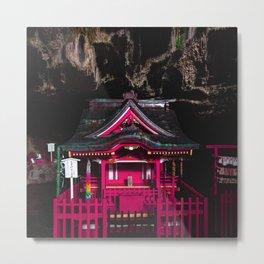 Pink Japanese Shrine hidden inside a Cave | Cyberpunk Metal Print