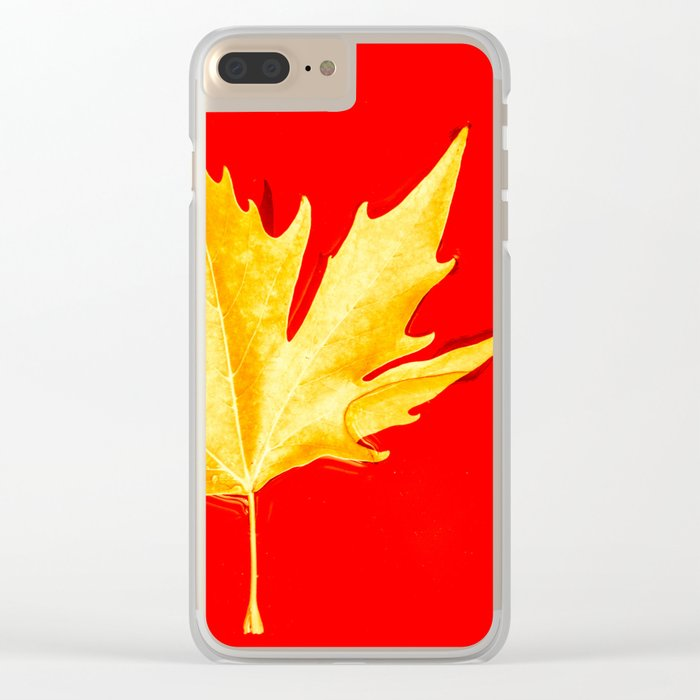 Gold on the red Clear iPhone Case