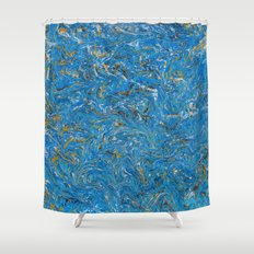 Blue and Gold marbled stone Shower Curtain
