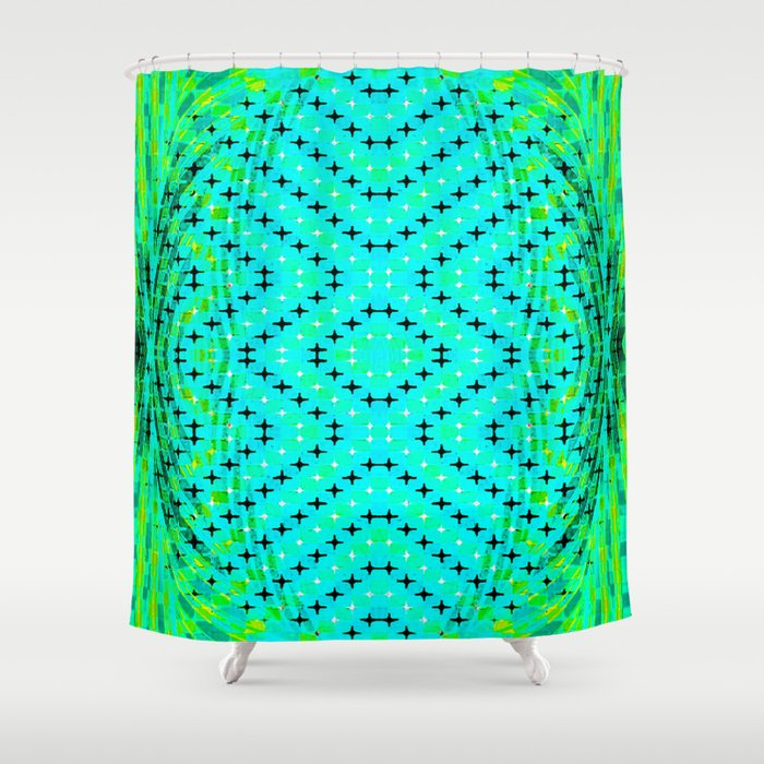 Flux 3 Optical Illusion Vibrant Colorful Psychedelic Trippy Design Shower Curtain