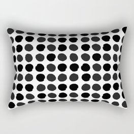 Black and white minimal paint brush painterly dots polka dots minimal modern dorm college painting Rectangular Pillow