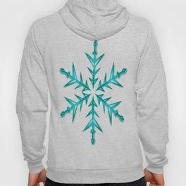 Minimalistic Aquamarine Snowflake Hoody