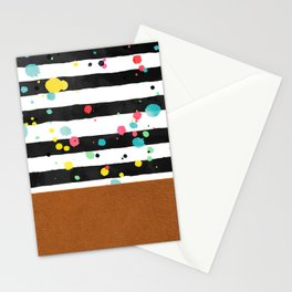 Watercolor splatters with brown leather Stationery Cards