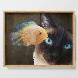 Wishful Thinking 2 - Siamese Cat Art - Sharon Cummings Serving Tray