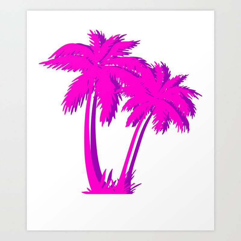 Vaporwave Pink Palm Tree Gift Aesthetic Style Palm Beach Art Print By Dc Designstudio Society6