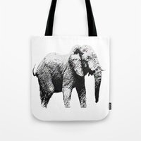 african Tote Bags featuring African Elephant by T.E.Perry