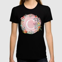 Flower Wreath with Personalized Monogram Initial Letter C on Pink Watercolor Paper Texture Artwork T-shirt