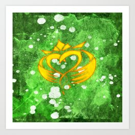 Claddagh Irish Celtic Splatter Art Print