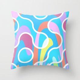 Nouveau Retro Graphic Blue Pink and White Throw Pillow