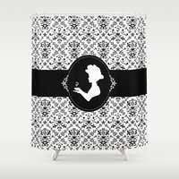 cafe Shower Curtains featuring Damask Cafe by Rachael Sinclair