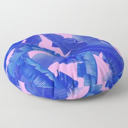 tropical banana leaves pattern,pink,blue Floor Pillow