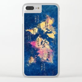 world map oceans and continents 2 Clear iPhone Case