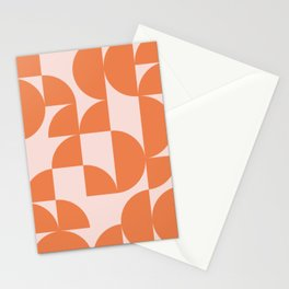 Mid Century Design in Burnt Orange and Blush Stationery Cards