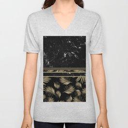 Black Marble Meets Tropical Palms #1 #decor #art #society6 Unisex V-Neck