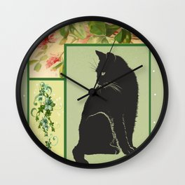 Patchwork Flowers and Cat Wall Clock