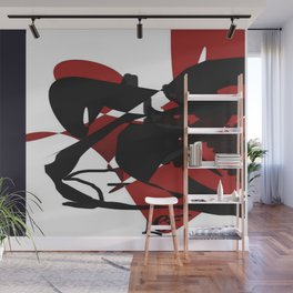 Fusion-Red, Black, White & (*Blue) Wall Mural