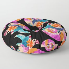 pattern with embroidered lilies Floor Pillow