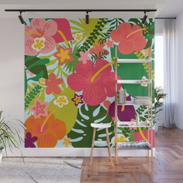 Bright Tropical Digital Floral by Design by Cheyney - Illustrated Flowers Wall Mural