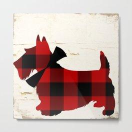 Scottish Plaid Terrier Metal Print