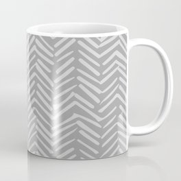 Geometric Art, Herringbone, Mudcloth, Gray, Wall Art Boho Coffee Mug