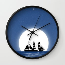 Sailing with Full Moon and Shooting Star Wall Clock