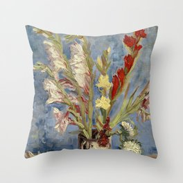 Van Gogh - Vase with Gladioli and China Asters Throw Pillow