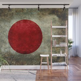Japanese Flag in grungy retro style Wall Mural