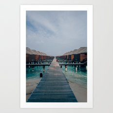 Overwater Bungalows in the Maldives Art Print
