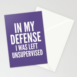 In My Defense I Was Left Unsupervised (Ultra Violet) Stationery Cards