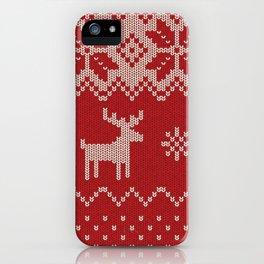 Christmas pattern knitting handmade scandinavian iIllustration with reindeer and heart iPhone Case